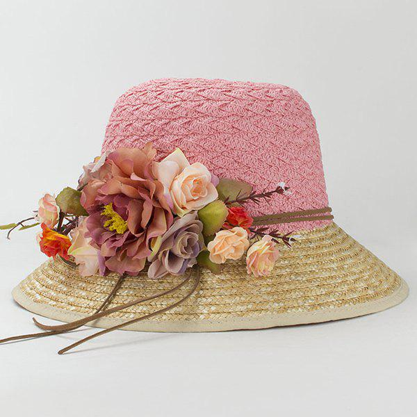 Chic Faux Flower Embellished Outdoor Seaside Sunscreen Women's Straw Hat - PINK