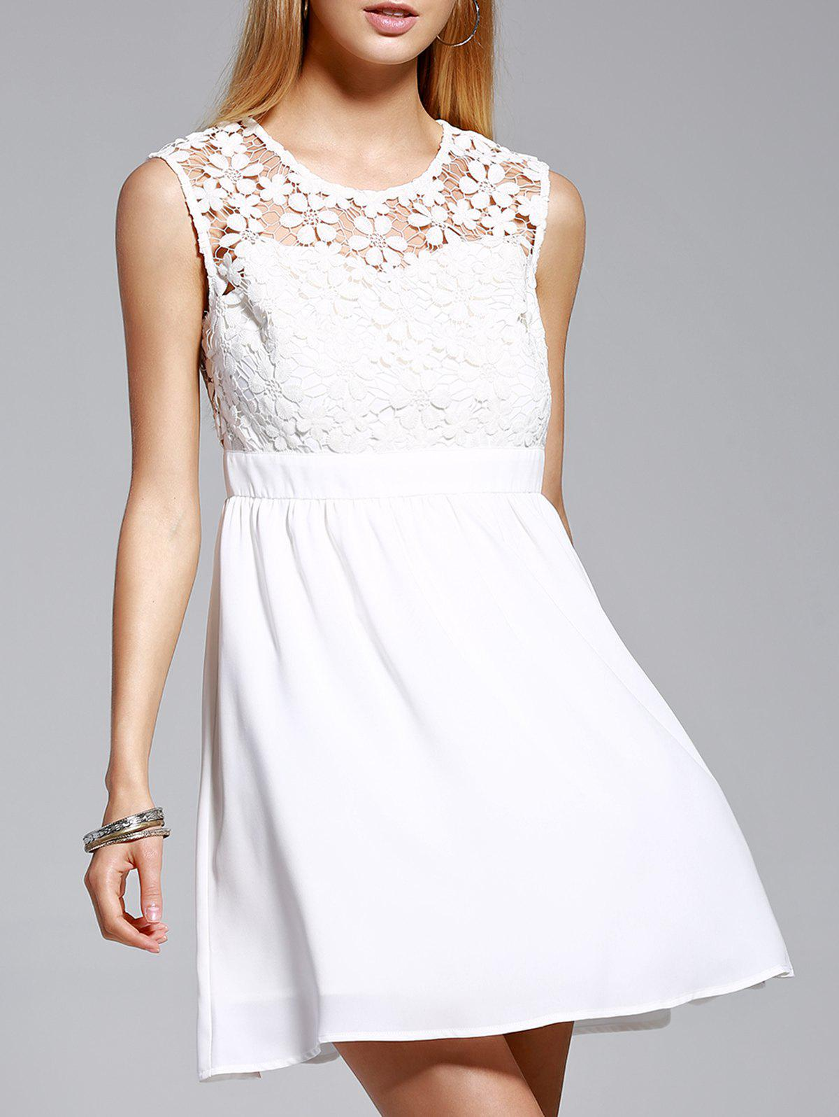 Trendy Jewel Neck Sleeveless Lace Spliced Dress For Women - L WHITE