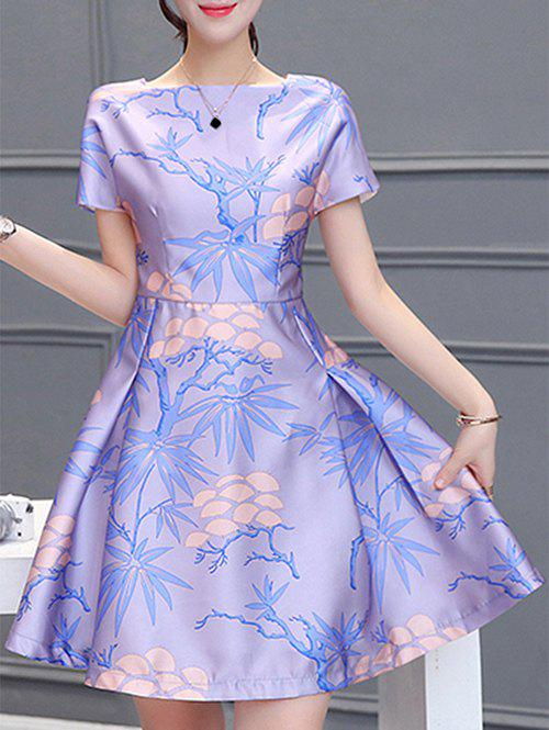 Square Collar Short Sleeves Pleated Plant Print Elegant Women's Dress - PURPLE XL