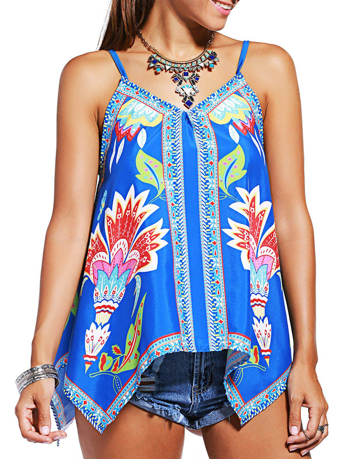 Charming Spaghetti Strap Asymmetrical Printed Women's Tank Top