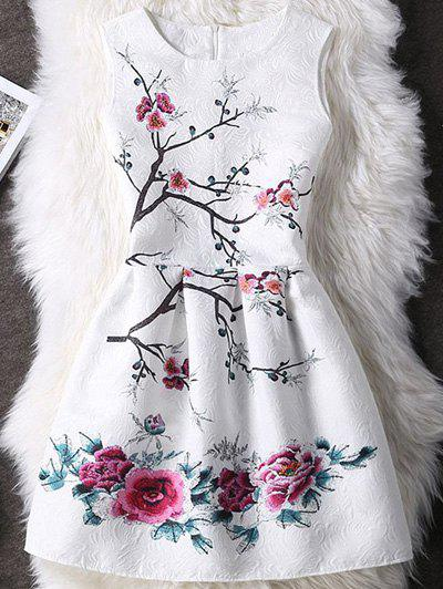 Concealed Zipper High-Waist Floral Pattern Dress For Women - WHITE XL