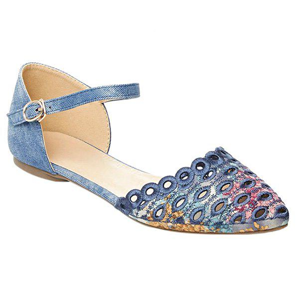 Casual Floral Print and Cloth Design Women's Flat Shoes - BLUE 37