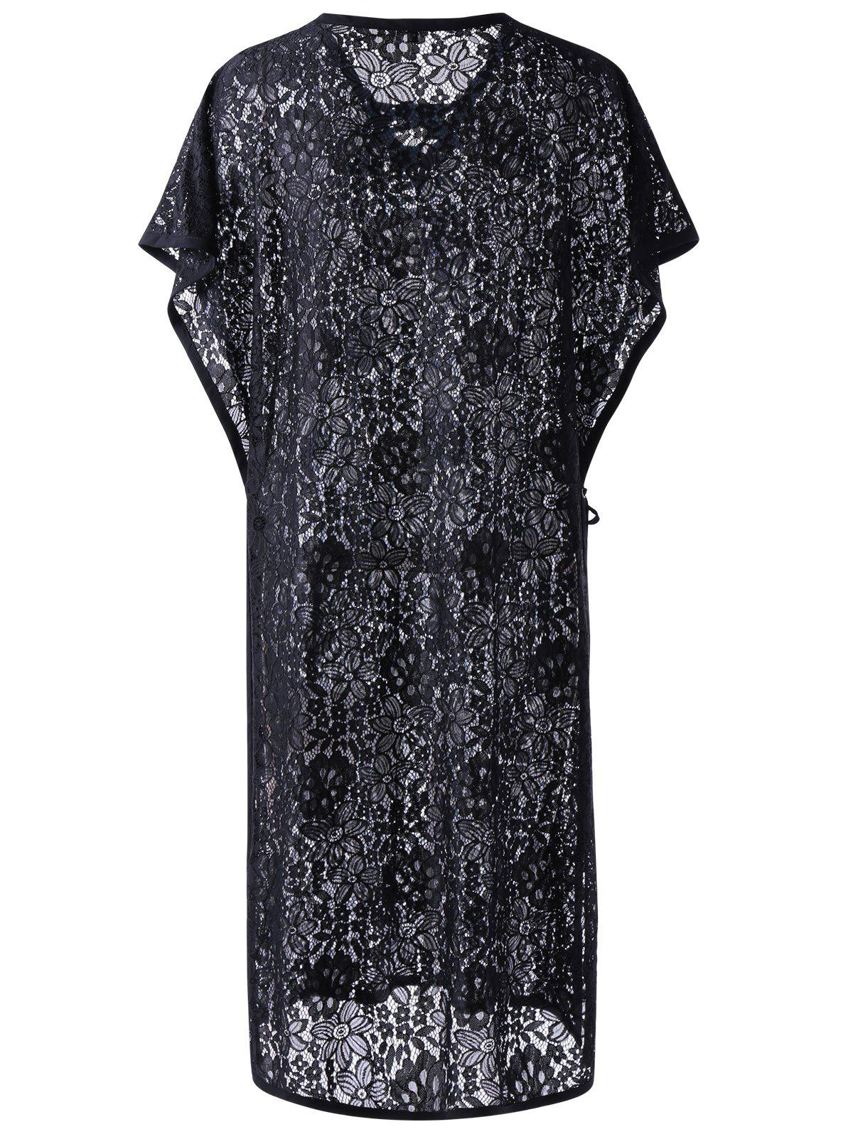 Sheer Lace Kaftan Cover Up - BLACK L