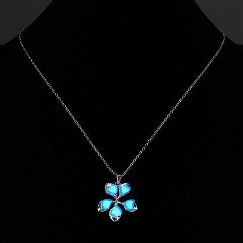 Noctilucent Floral Pendant Necklace - BLUE