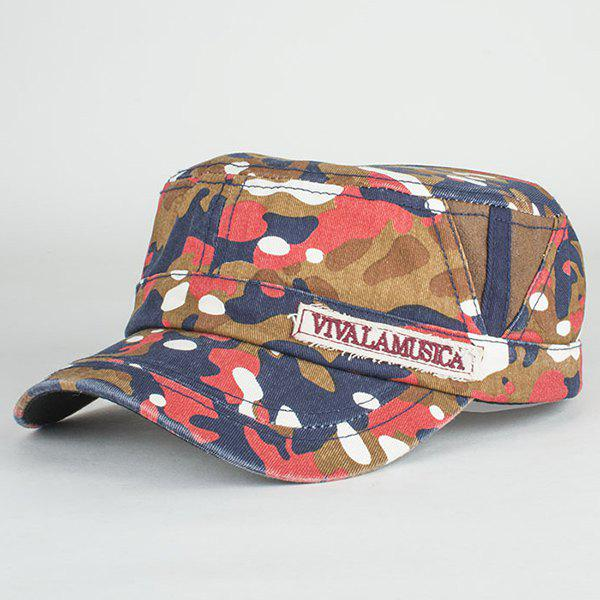 Fashion Letters Applique Camouflage Pattern Cool Summer Military Hat - LIGHT RED
