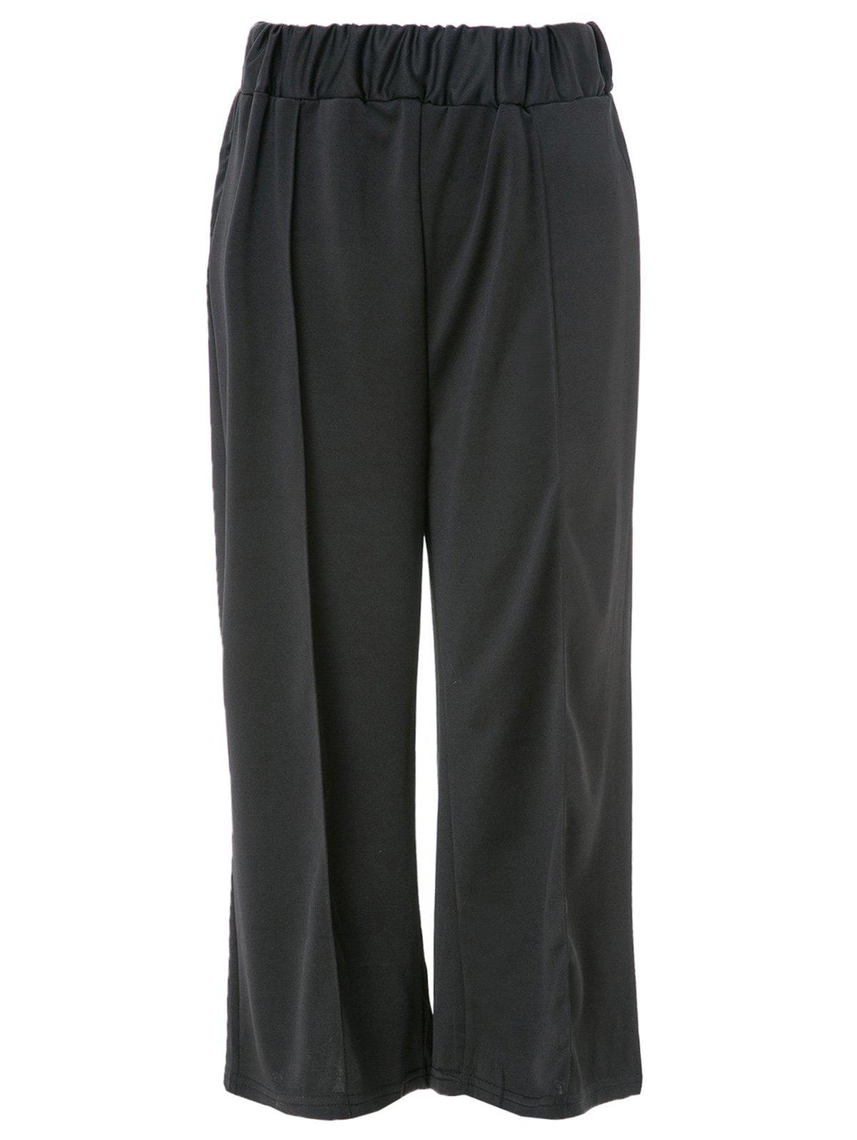 Stylish High Waist Black Wide Leg Pants For Women - BLACK XL