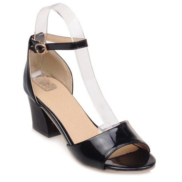 Elegant Bow and Chunky Heel Design Women's Sandals - BLACK 36