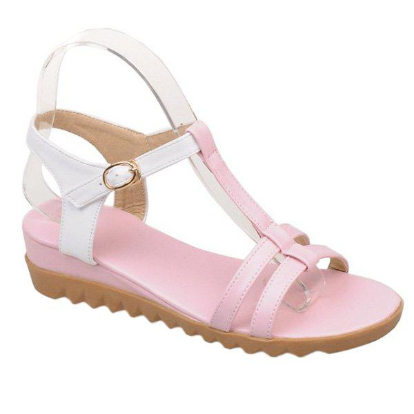 Leisure T-Strap and Colour Block Design Women's Sandals - PINK 36