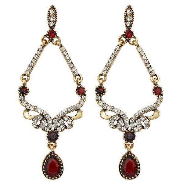 Pair of Vintage Faux Gem Rhinestone Hollowed Earrings For Women - RED