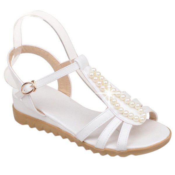 Casual Candy Color and Faux Pearls Design Women's Sandals - WHITE 39