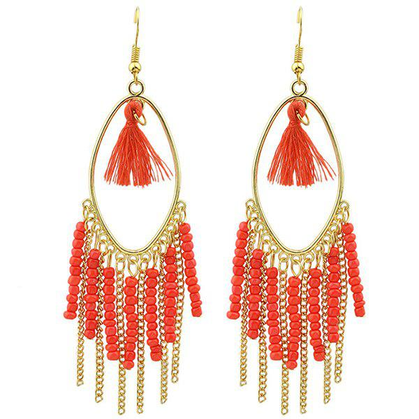 Pair of Vintage Bead Chain Tassel Drop Earrings - RED