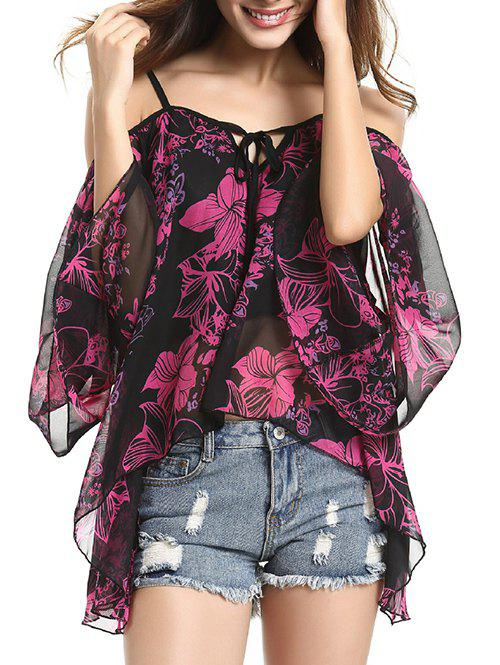 Spaghetti Strap Off Shoulder Bell Sleeve Charming Floral Women's Blouse - BLACK L