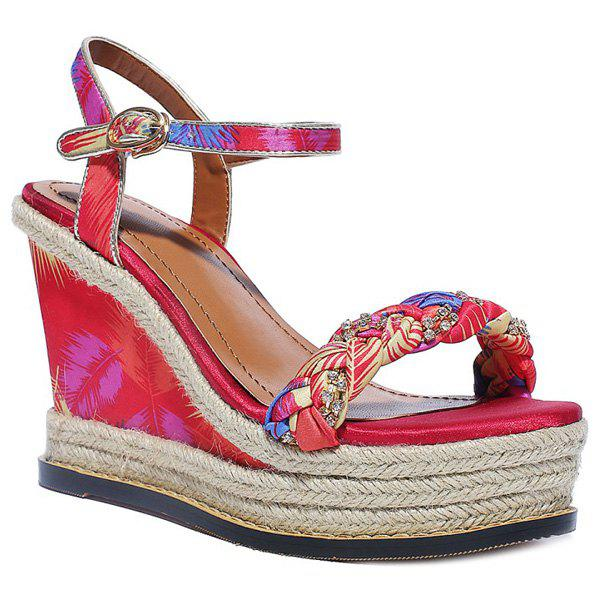 Sweet Printed and Weaving Design Women's Sandals - RED 38