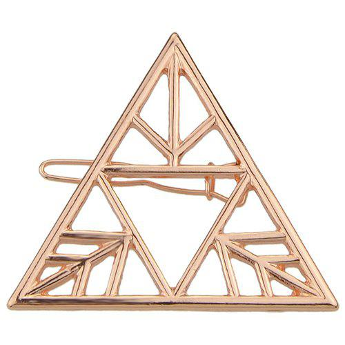 Vintage Solid Color Hollowed Triangle Hairpin For Women - ROSE GOLD