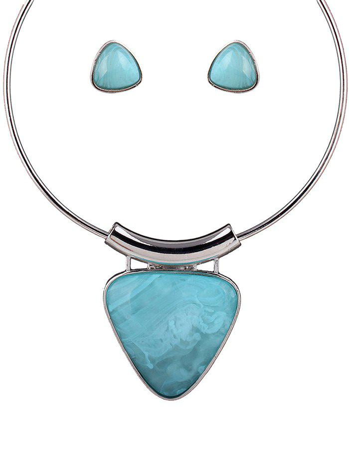 Triangle Acrylic Necklace and Earrings - LIGHT BLUE