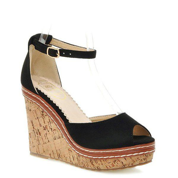 Stylish Peep Toe and Suede Design Women's Sandals - BLACK 39