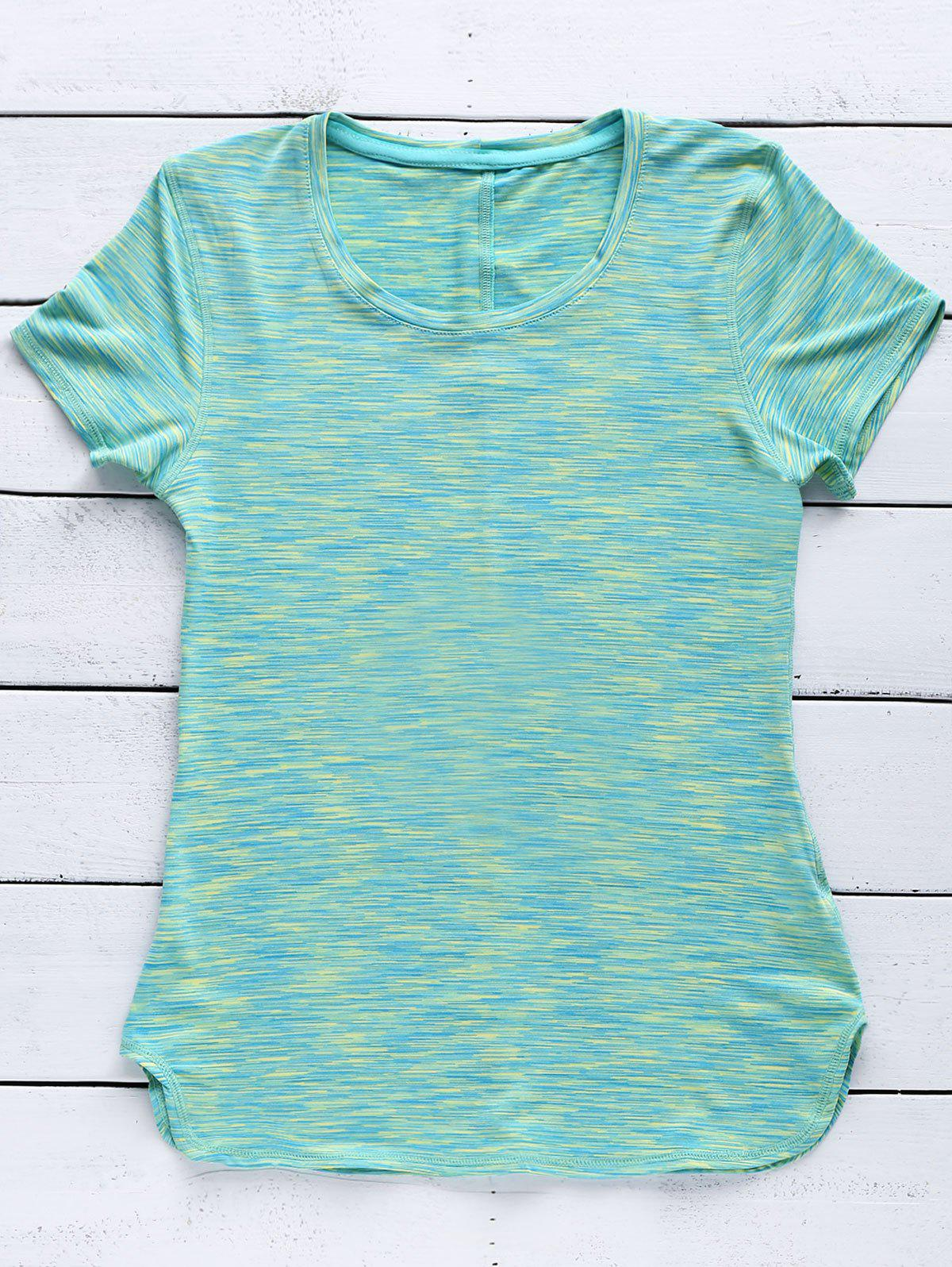 Sporty Women's Scoop Neck Space-Dyed Yoga Top - GREEN L