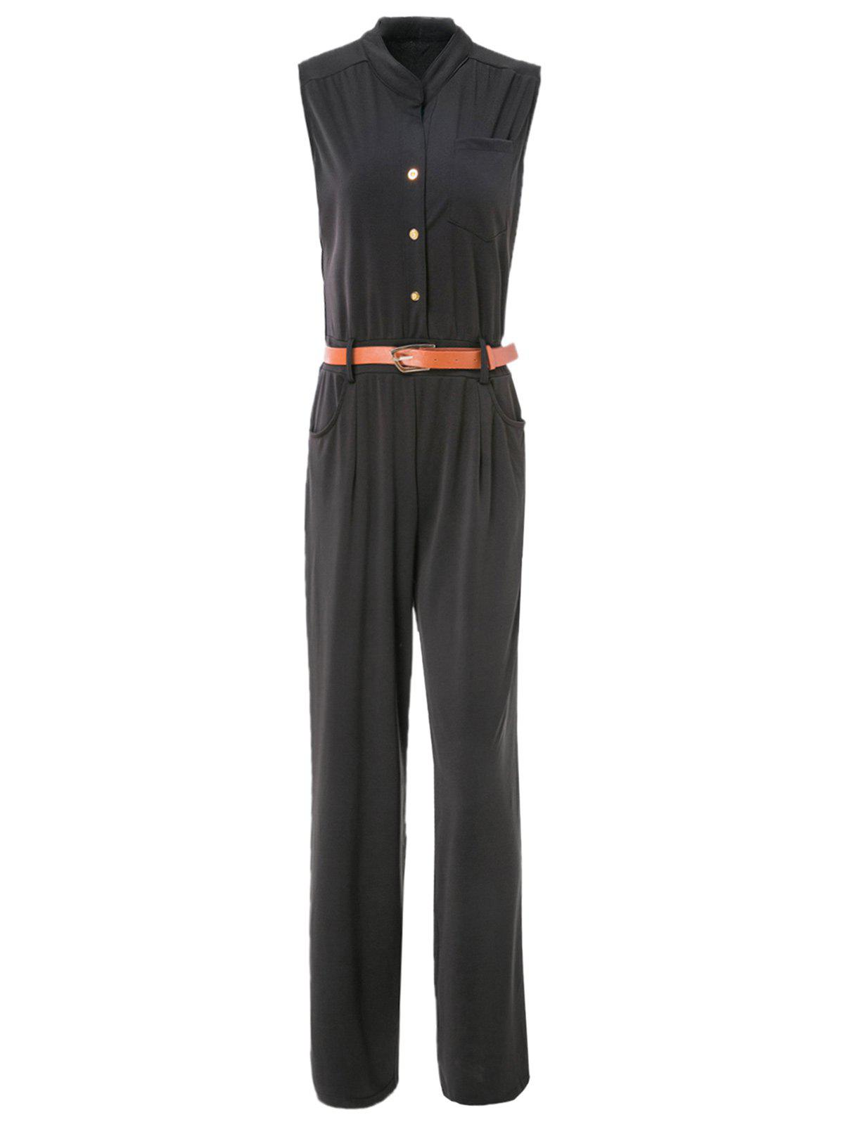 Elegant Women's Stand Collar Candy Color Sleeveless Jumpsuit - BLACK XL