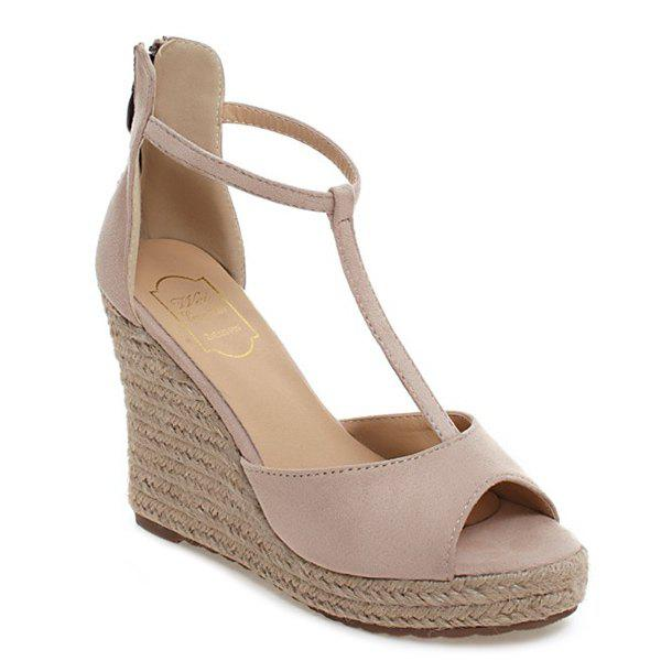 Fashionable T-Strap and Weaving Design Women's Sandals - APRICOT 37