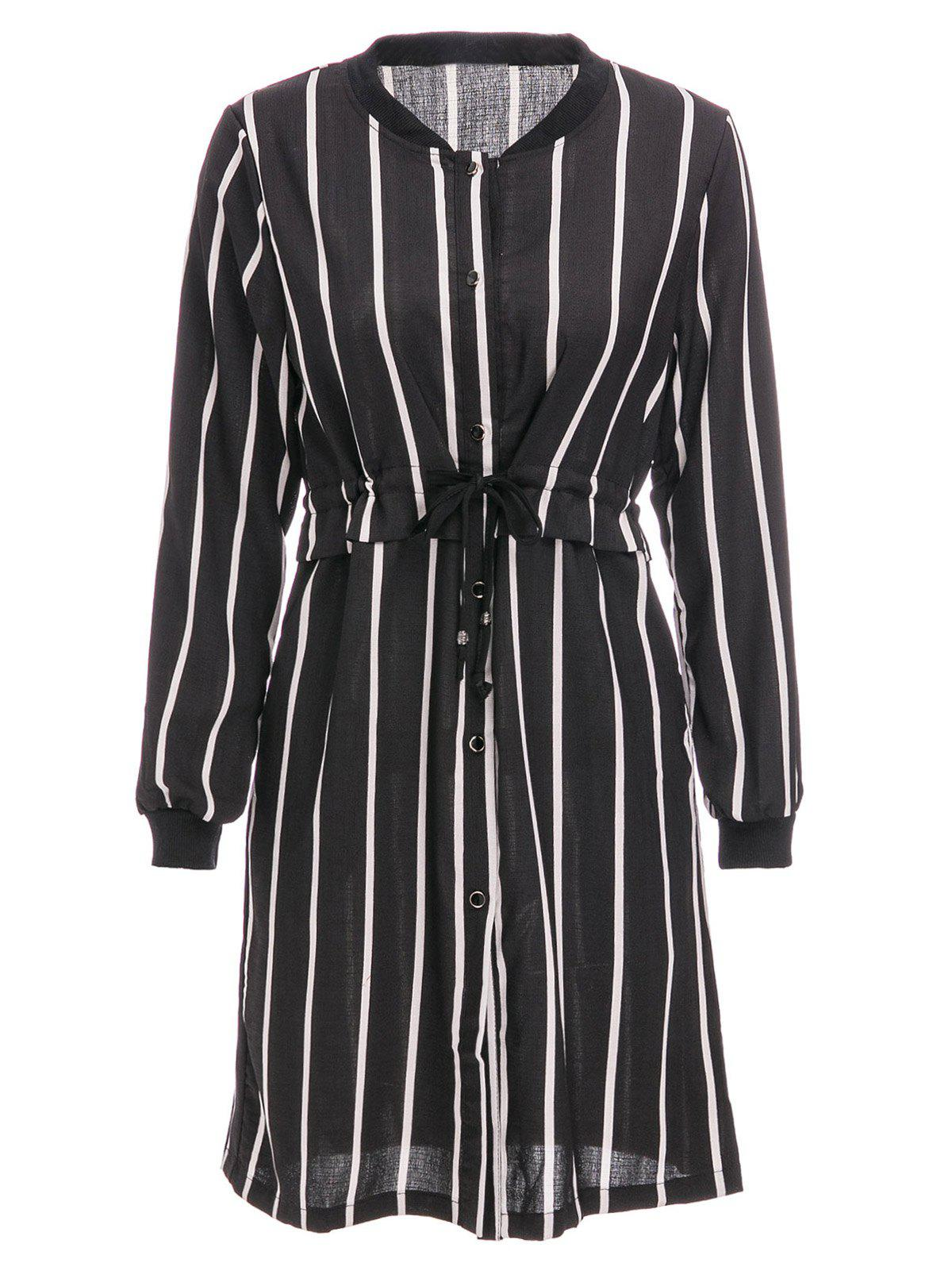 Brief Women's Stand Collar Vertical Stripe Long Sleeve Dress - BLACK XL