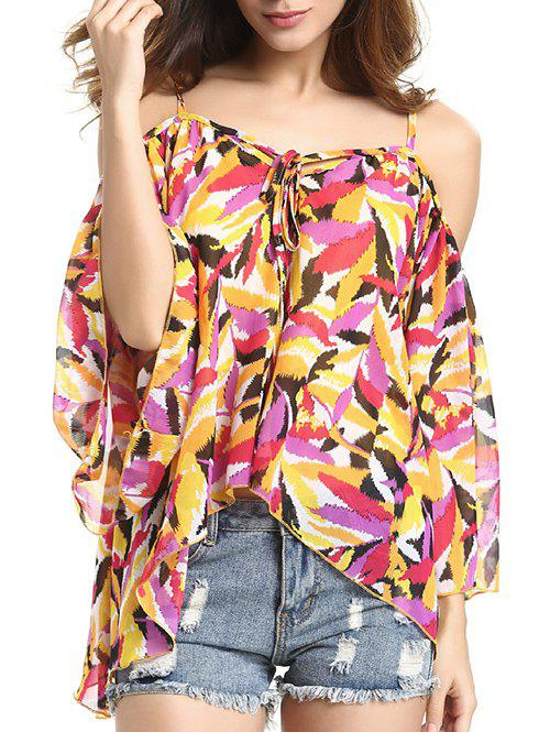 Chic Spaghetti Strap Off Shoulder Bell Sleeve Feather Print Blouse For Women - COLORMIX L