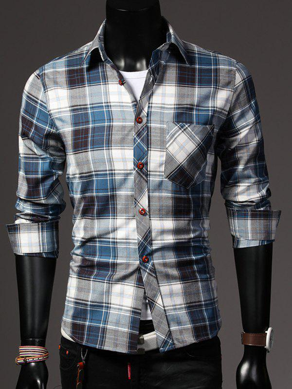 One Pocket Color Block Plaid Shirt Collar Long Sleeves Men's Slimming Shirt
