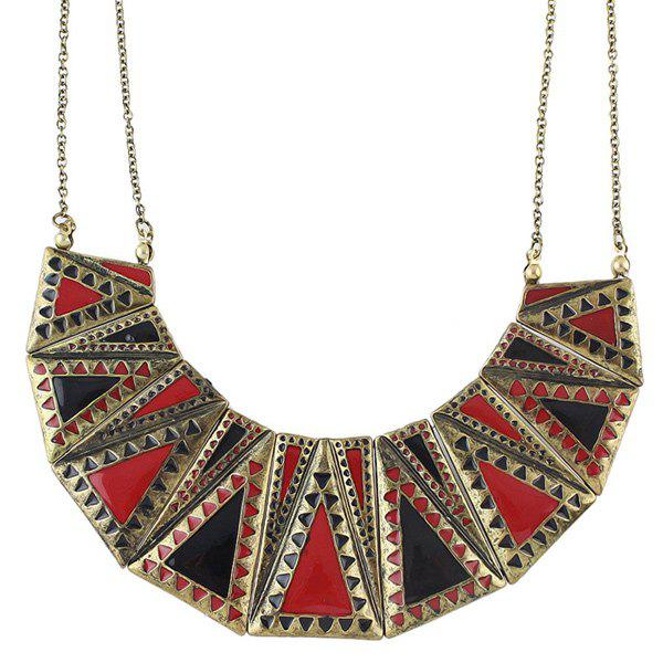 Multilayer Color Block Triangle Necklace - COLORMIX