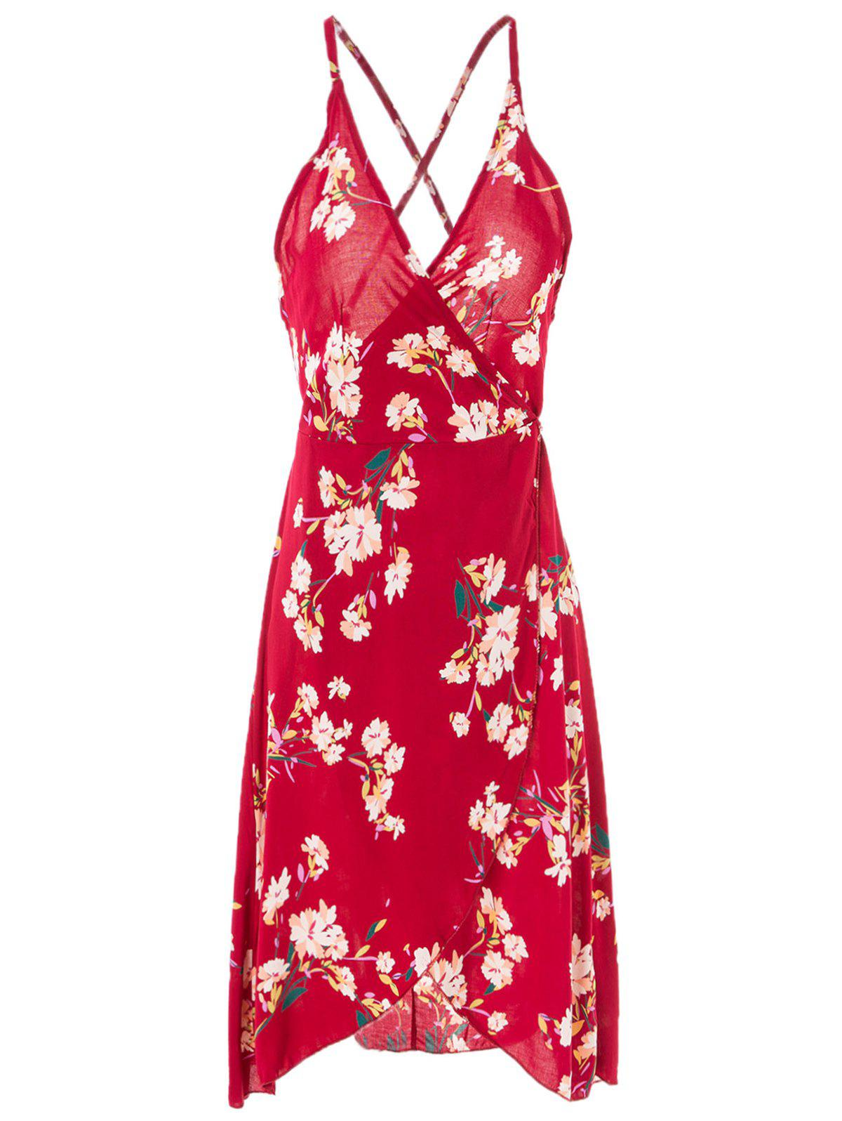 Sexy Women's Spaghetti Strap Floral Print Cross Back Dress - WINE RED S