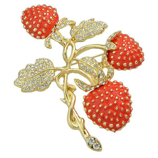Floral Rhinestoned Brooch - RED
