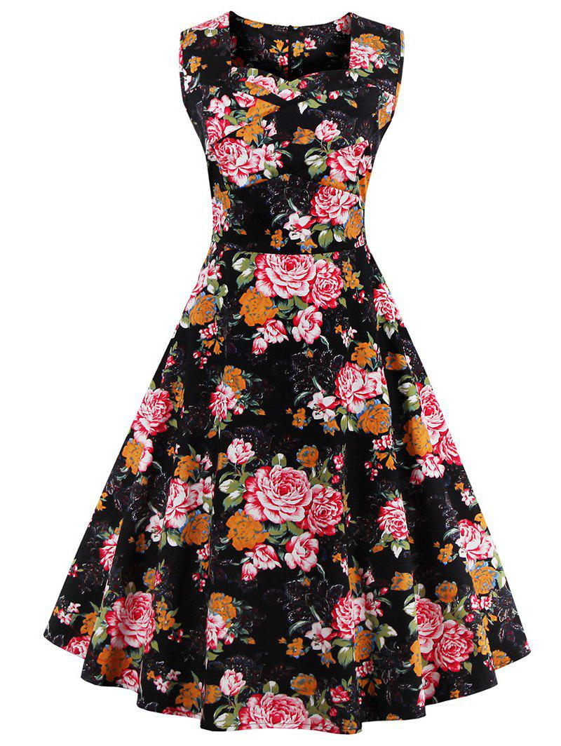 Vintage Style Sleeveless Sweetheart Neck Floral Print Women's Dress - BLACK 4XL