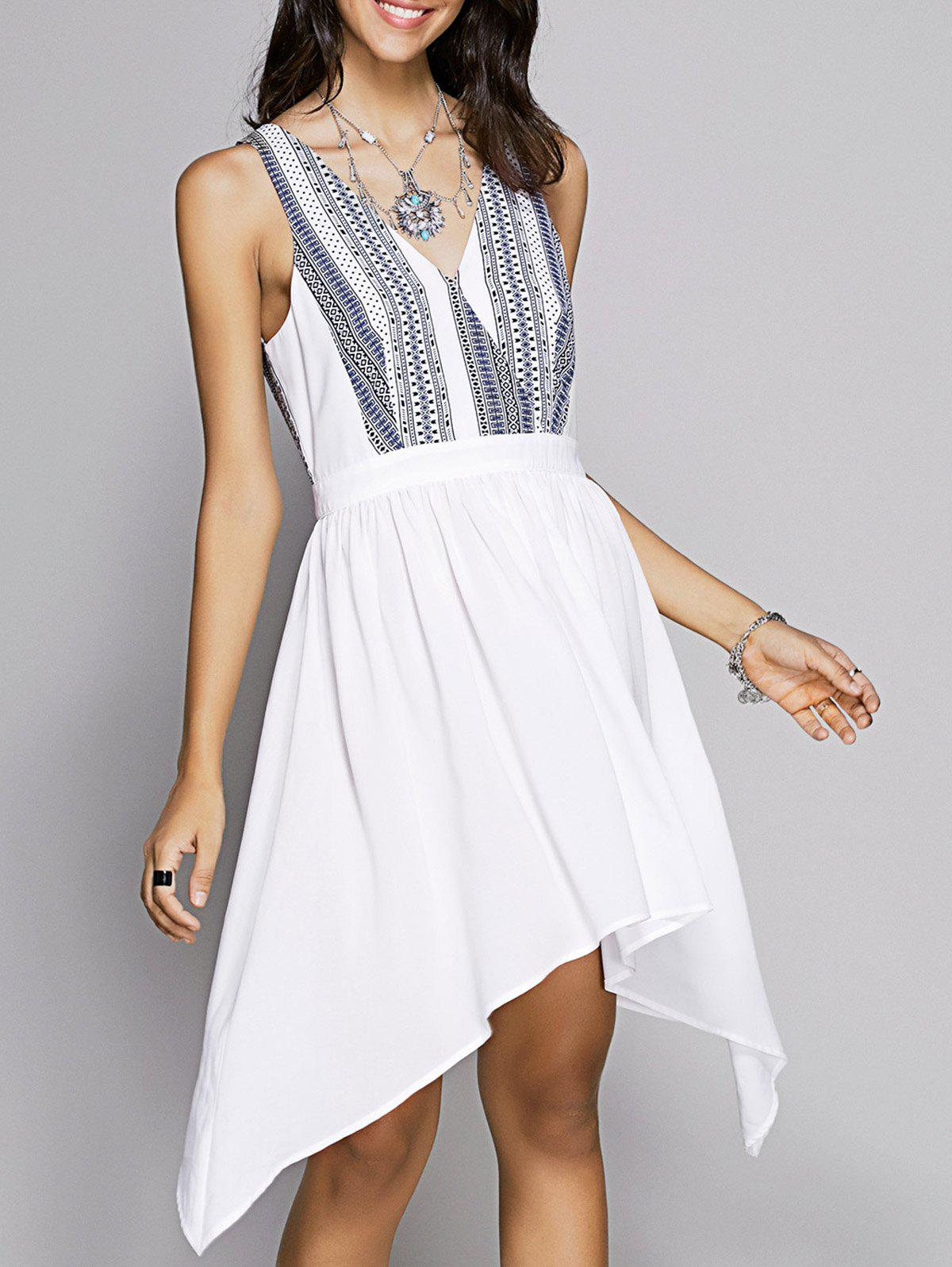 Sweet Women's Fitted V-Neck Printed Dress - WHITE S