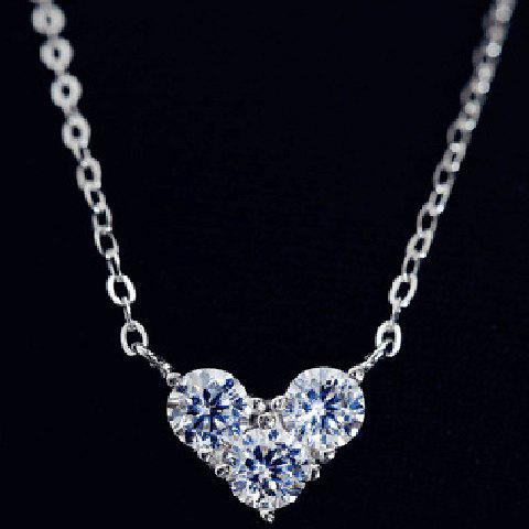 Heart Rhinestone Embellished Necklace - SILVER