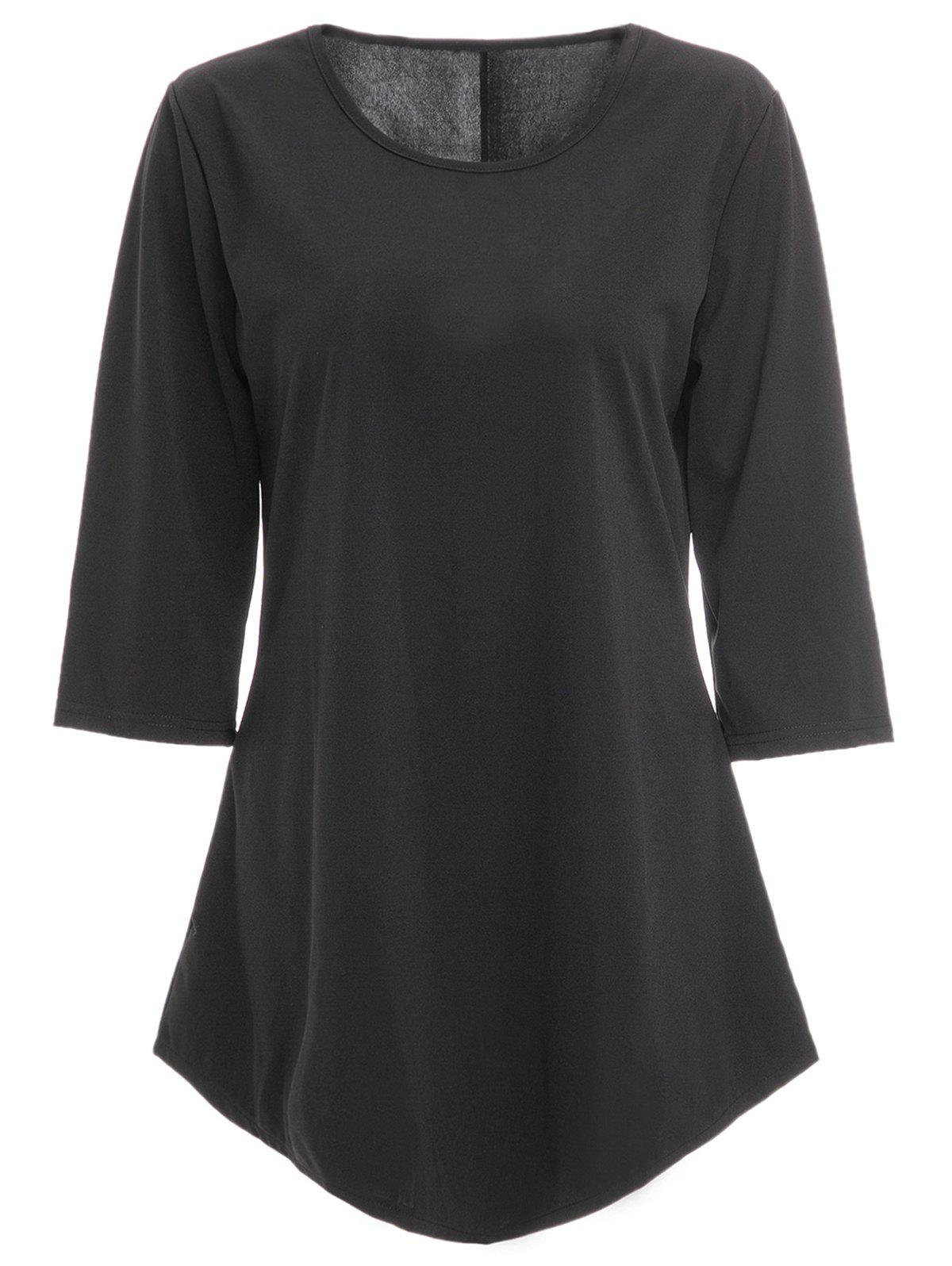 Chic 3/4 Sleeve Round Neck Pure Color Asymmetrical Womens T-ShirtWomen<br><br><br>Size: M<br>Color: BLACK