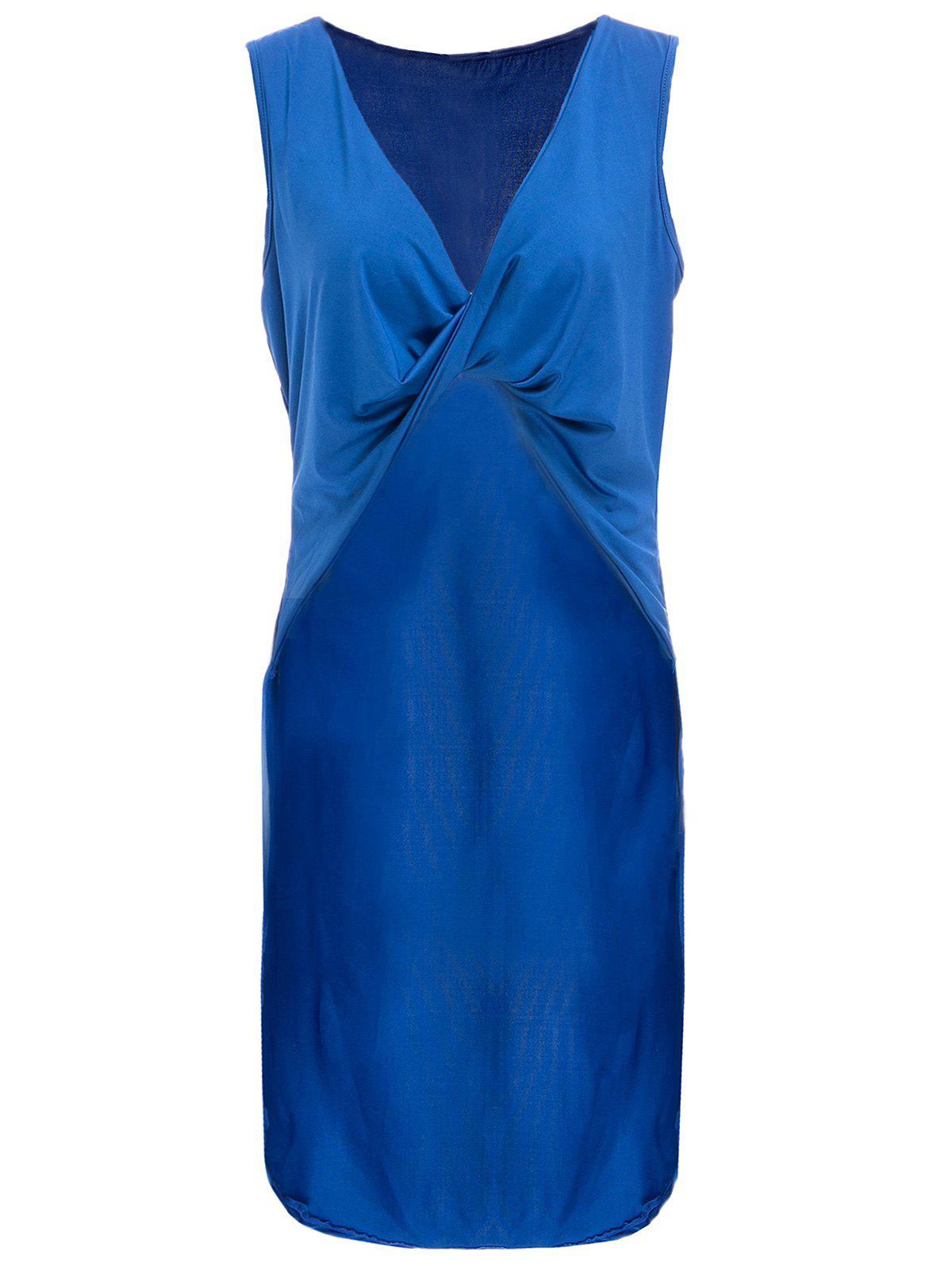 Chic Women's Plunging Neck Blue High Low Sleeveless Top
