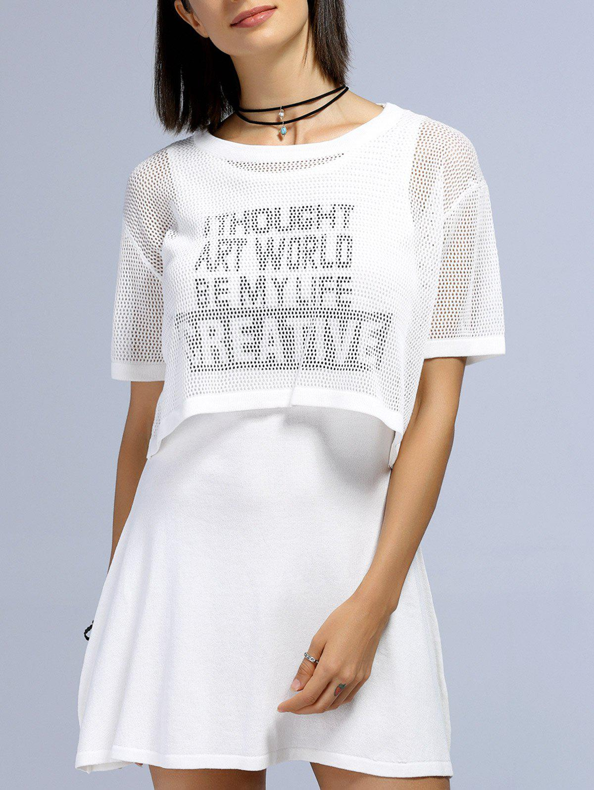 Trendy Hollow Out Short Sleeve Blouse + Letter Pattern Dress Women's Twinset - WHITE ONE SIZE(FIT SIZE XS TO M)