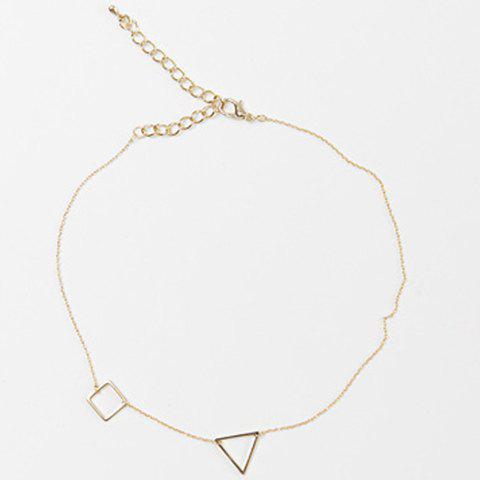 Hollow Out Triangle Square Necklace - GOLDEN