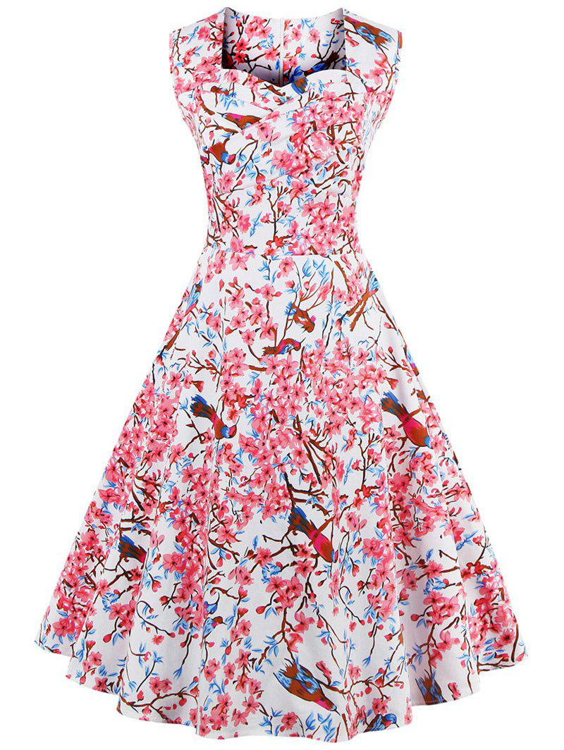 Sweetheart Neck Floral and Bird Vintage Dress - WHITE M