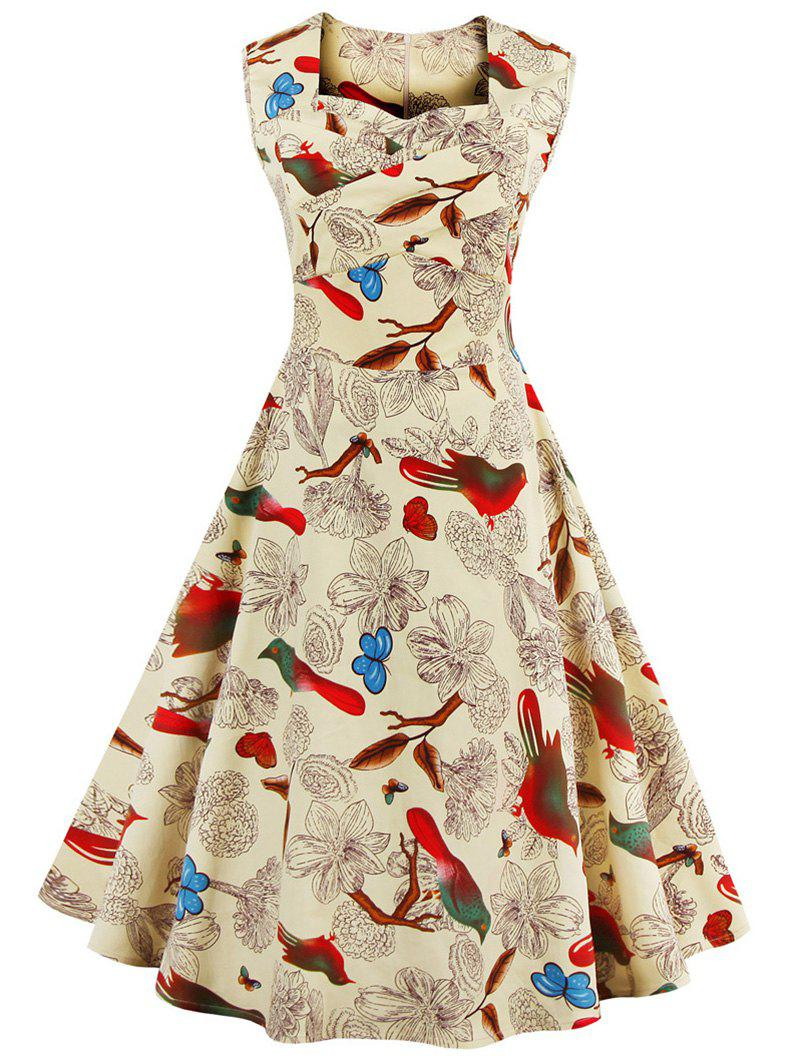 Sweetheart Neck Floral and Bird Vintage Dress - APRICOT XL