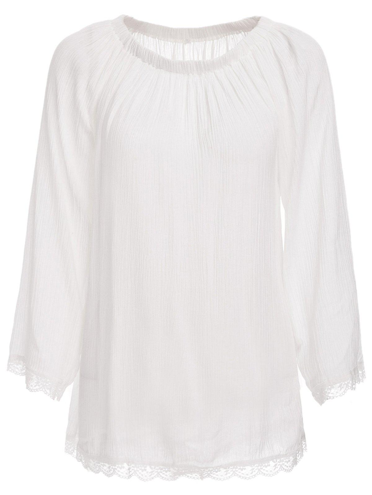 Trendy Off The Shoulder manches longues See-Through Cover-Up pour les femmes - Blanc L