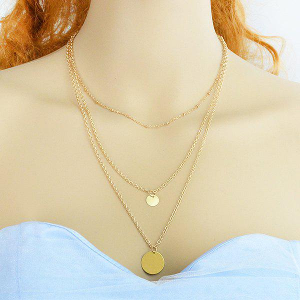 Multilayer Vintage Round Pendant Necklace - GOLDEN