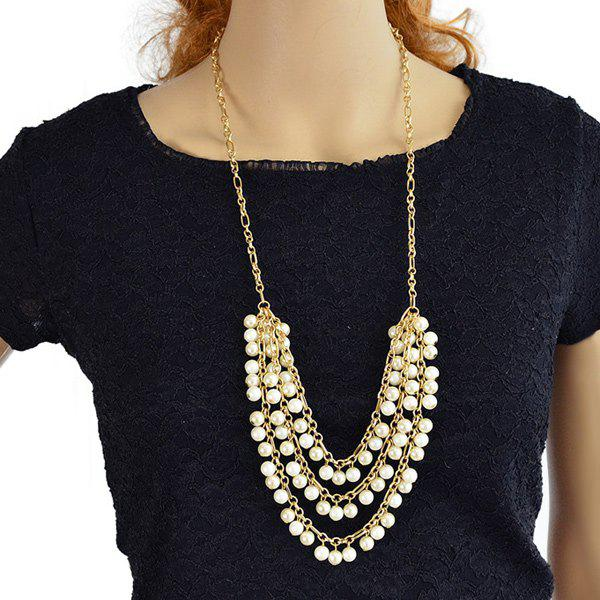 Layered Faux Pearl Tassel Pendant Necklace - GOLD/WHITE