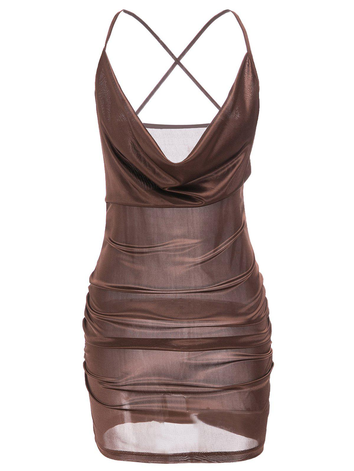 Sexy Plunging Neck Spaghetti Strap Women's Dress - BROWN XL