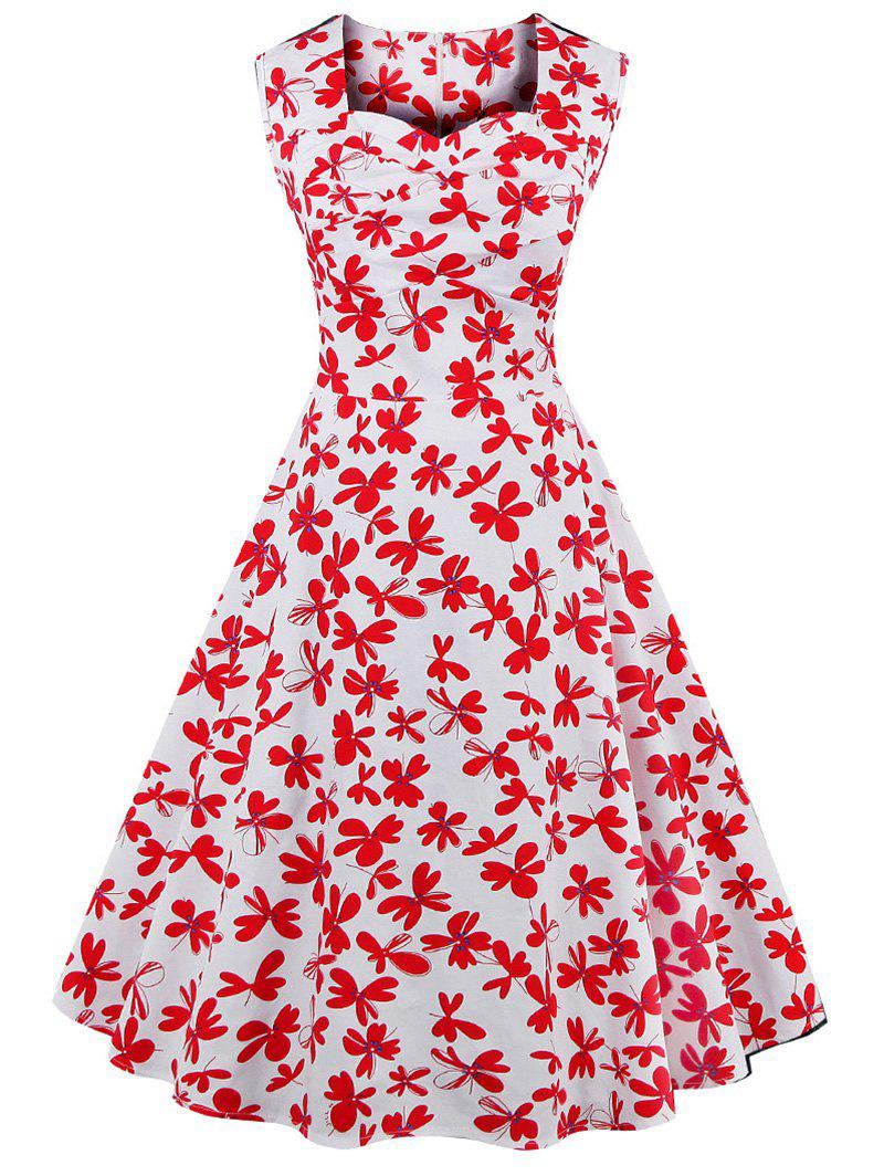 Vintage Printed Sleeveless Sweetheart Neck Women's Dress - RED/WHITE 4XL