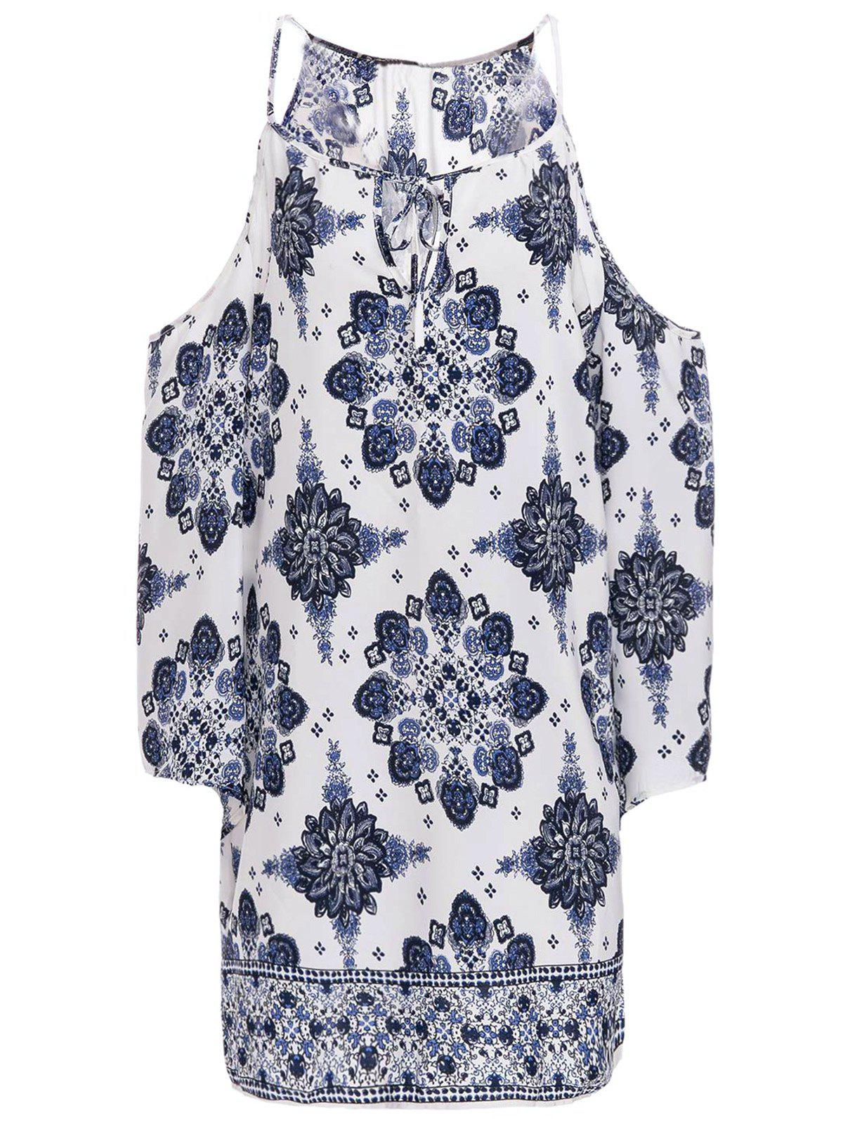 Trendy Women's V-Neck 3/4 Sleeve Cut Out Printed Dress - BLUE/WHITE M