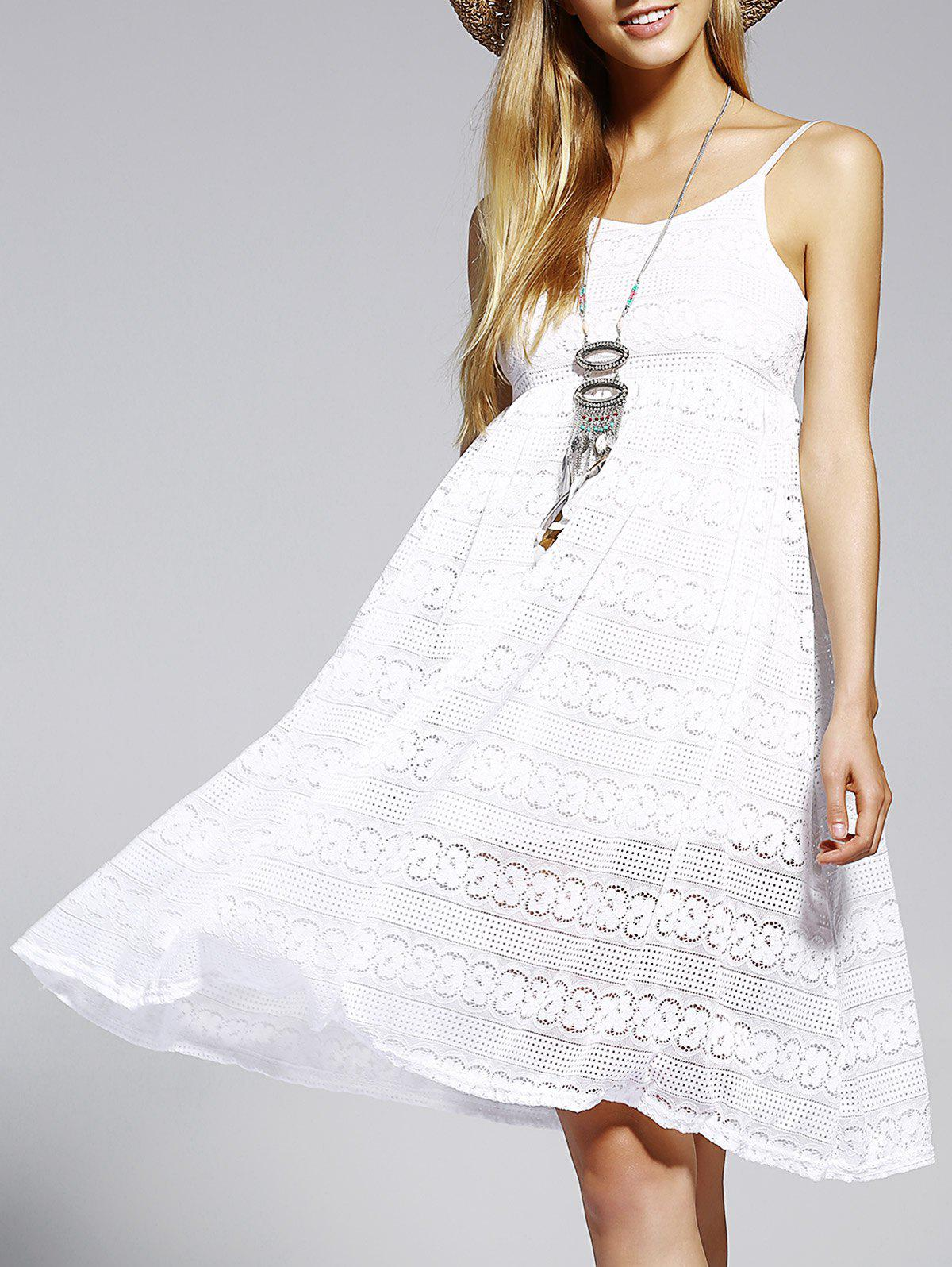Trendy Spaghetti Strap Backless Pure Color Women's Dress - WHITE ONE SIZE(FIT SIZE XS TO M)