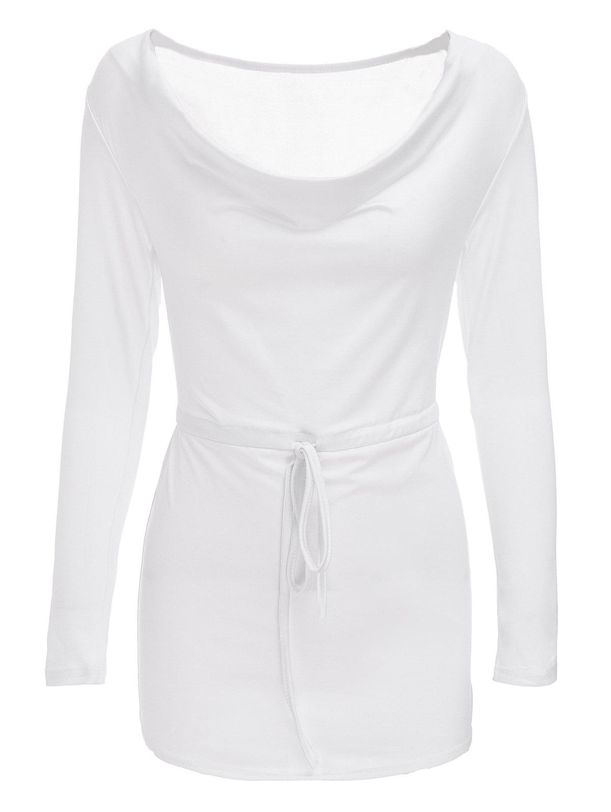 Sexy Cowl Neck Long Sleeve Sheathy Asymmetrical Women's White Dress - WHITE M