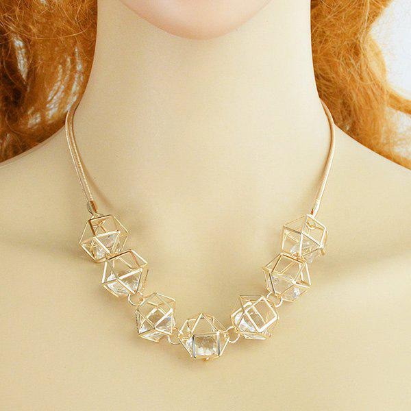 Faux Zircon Hollowed Geometric Necklace - GOLDEN