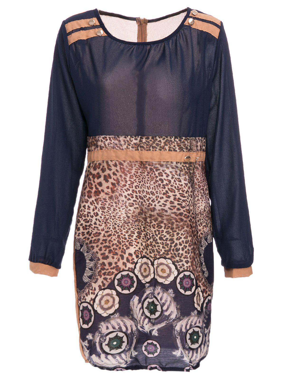Stylish Leopard Print Scoop Neck Long Sleeve Women's Dress - BLUE L