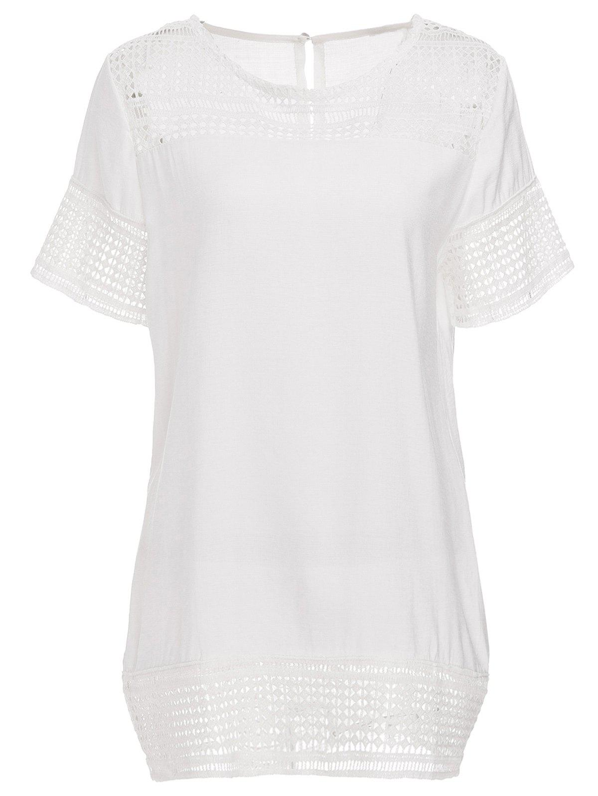 Stylish Women's Short Sleeve Round Neck Hollow Out T-Shirt - WHITE 4XL