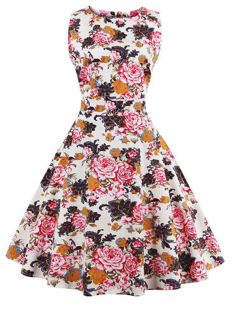 Floral Bowknot Embellished 50s Swing Dress - RED M